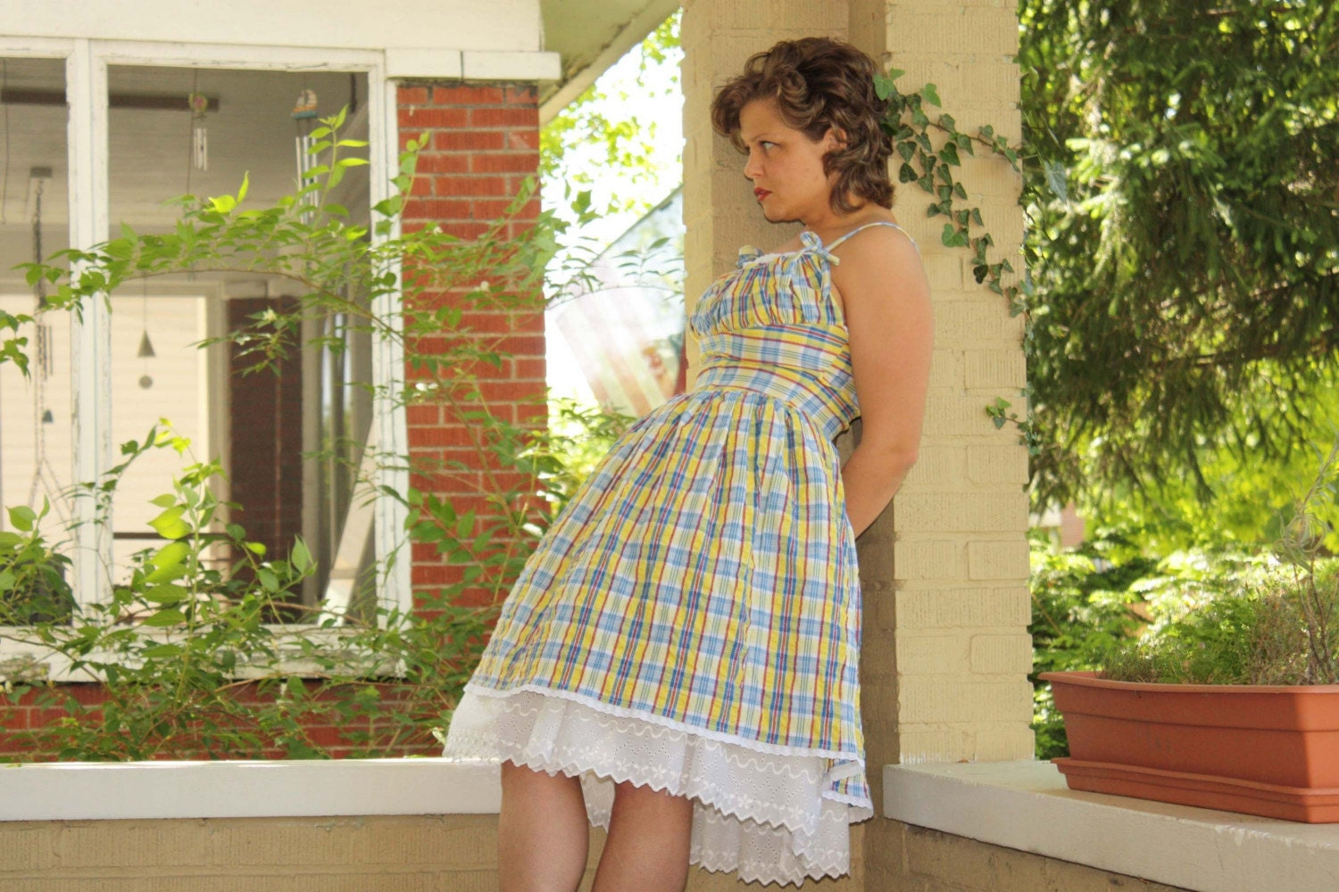 Custom Vintage Style Plaid Seersucker Sundress with Petticoat (CUSTOM SIZED)
