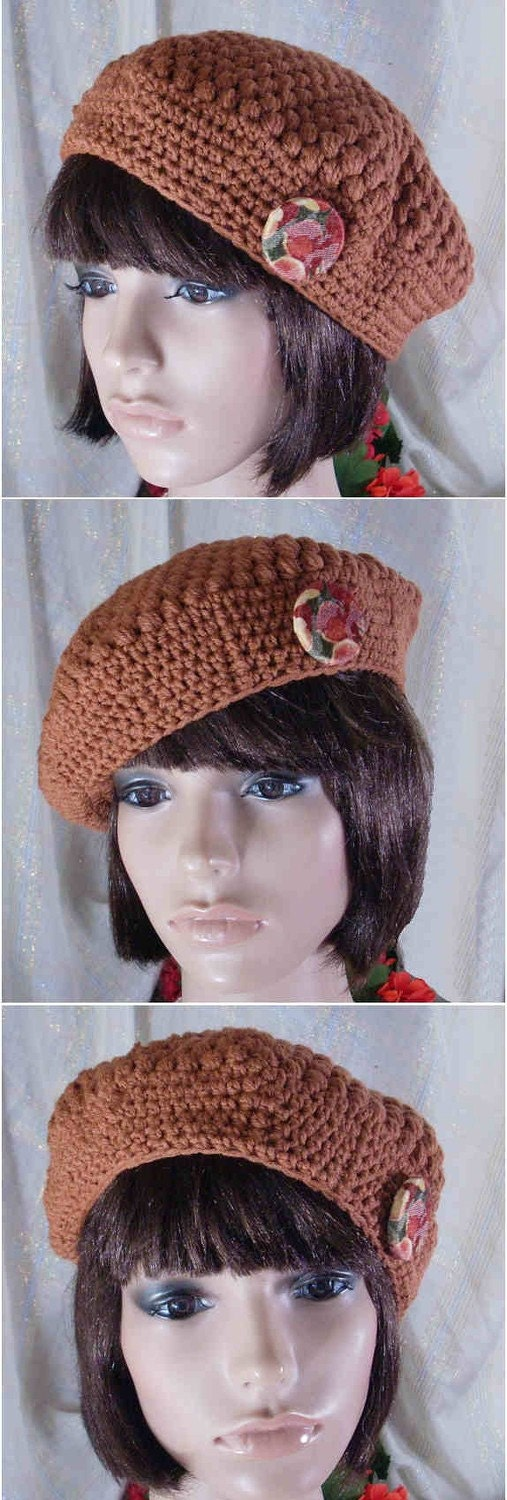 Crochet Hair Puff : Puff Stitch Beret in Cinnamon crochet by theoldhooker on Etsy ...
