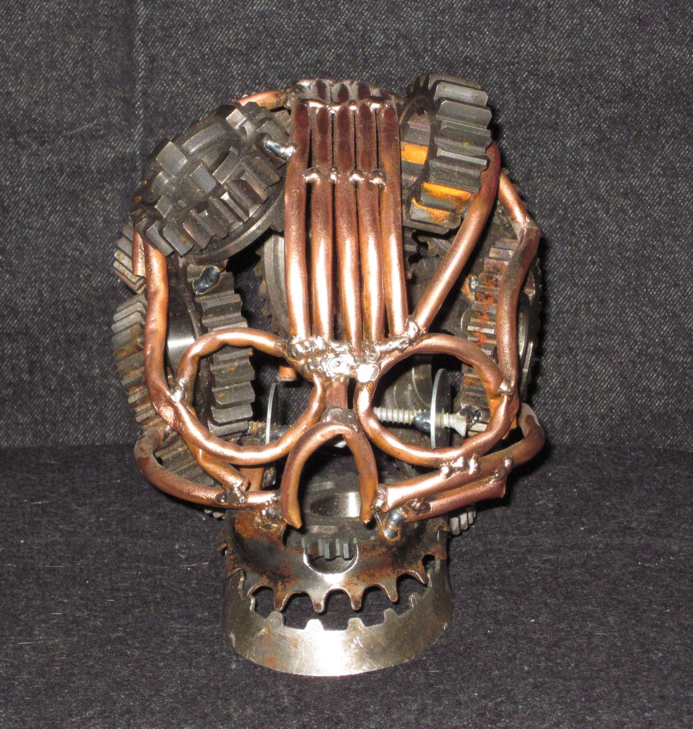 Copper and gears make this Skull - Beckspecialties