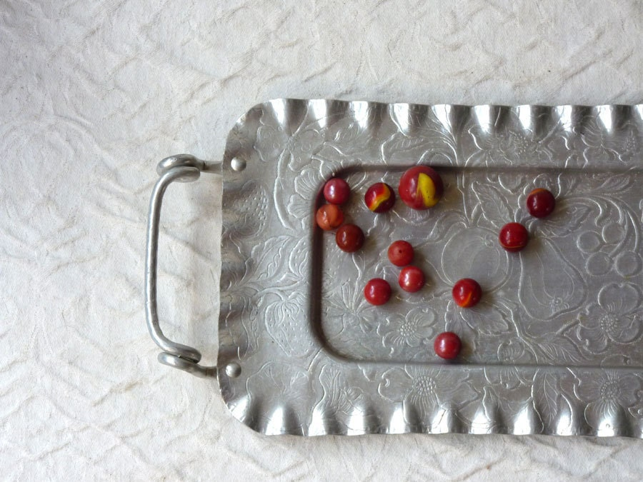 Hammered Aluminum Tray with Handles, floral and fruit design, rectangular