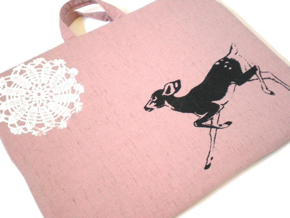 Laptop Bag - Pink Fawn and Lace - Custom Sizing Avaialble