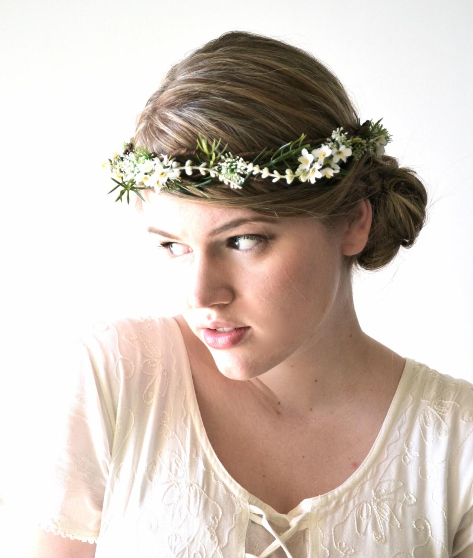 White Wedding Headpiece, Floral Hair Wreath, Bridal hair accessories, Vine Crown, Hair Crown, Bridal Crown, Flower Crown - FRONDESCENCE - hazelfaire