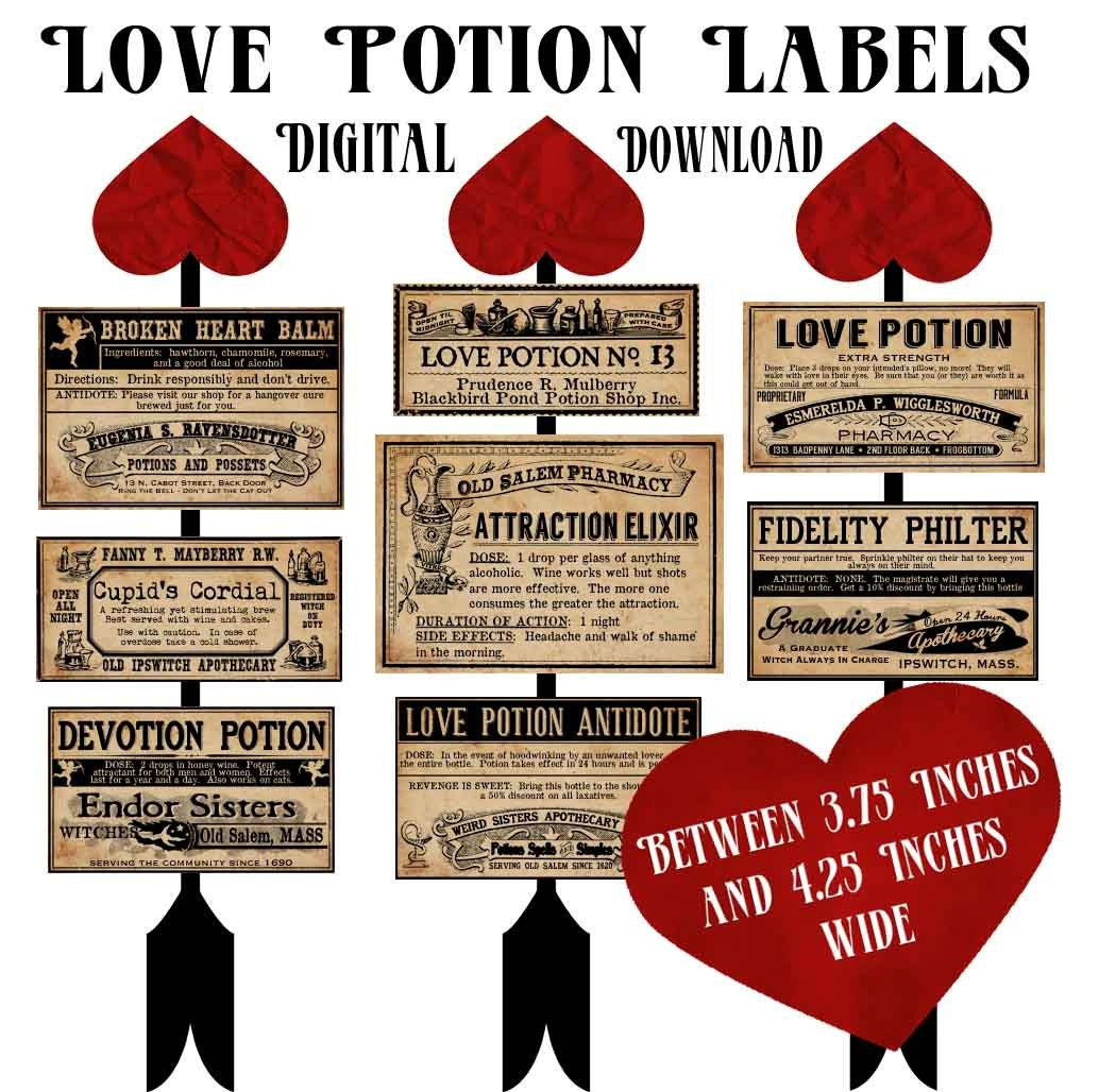 Love Potion Drink Labels: Love Potion Witch Apothecary Bottle Labels By Chocolaterabbit