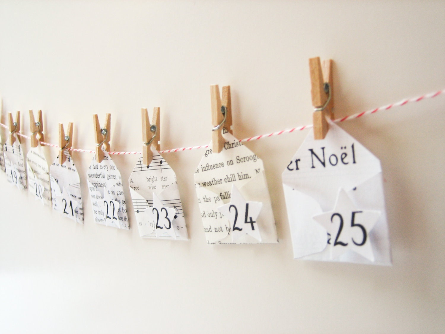 The cutest Advent Calendar ever -- 25 mini Christmas envelopes -  miniature envelopes, handmade, music, books, clothespins, garland - newnanc