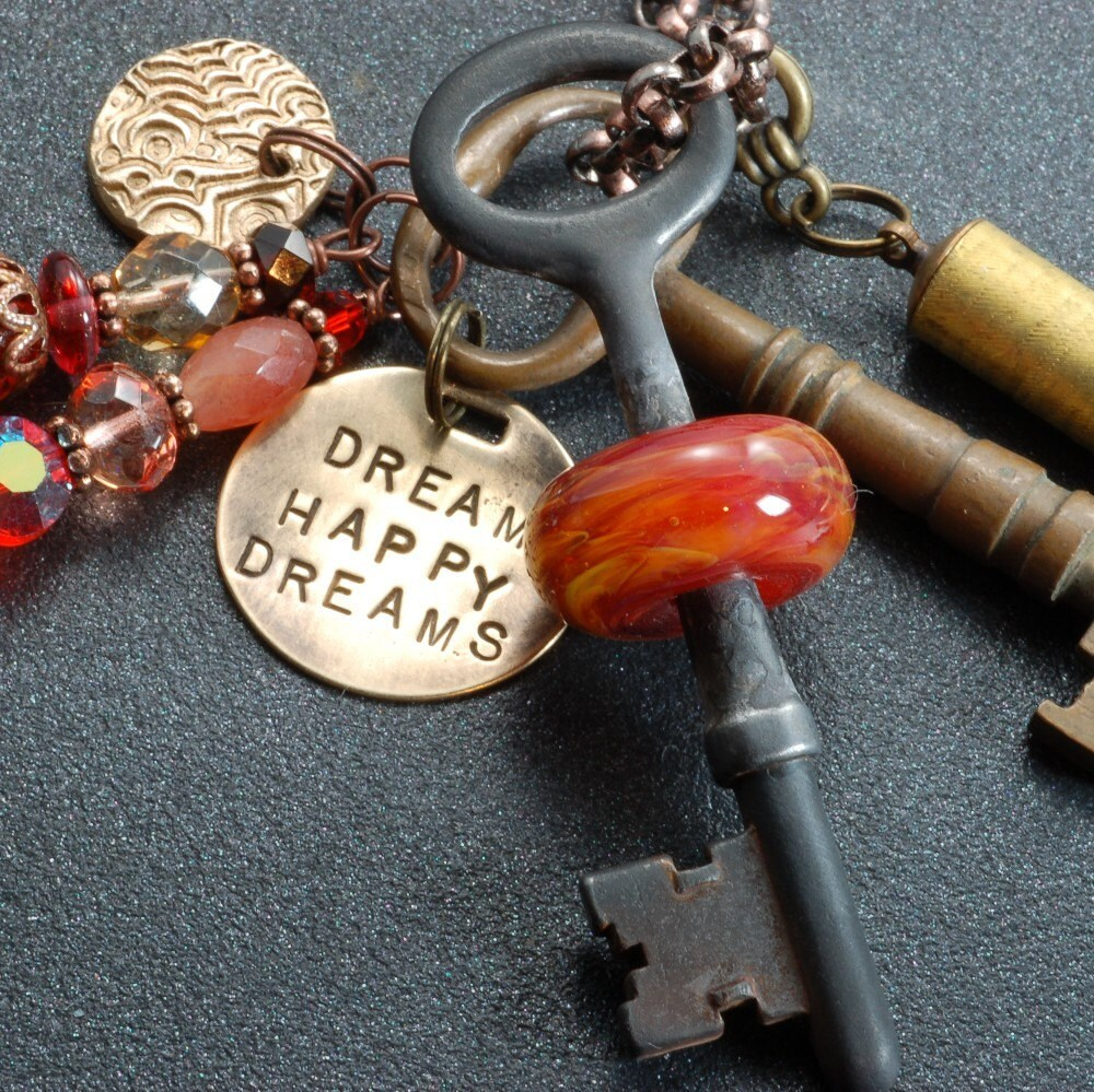 Dream Happy Dreams Twilight Inspired Boro Glass Beaded Vintage Skeleton Key Necklace