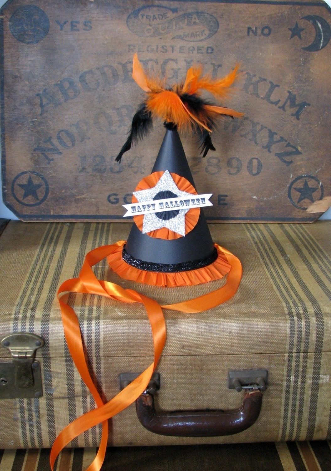 vintage inspired handmade happy halloween party hat