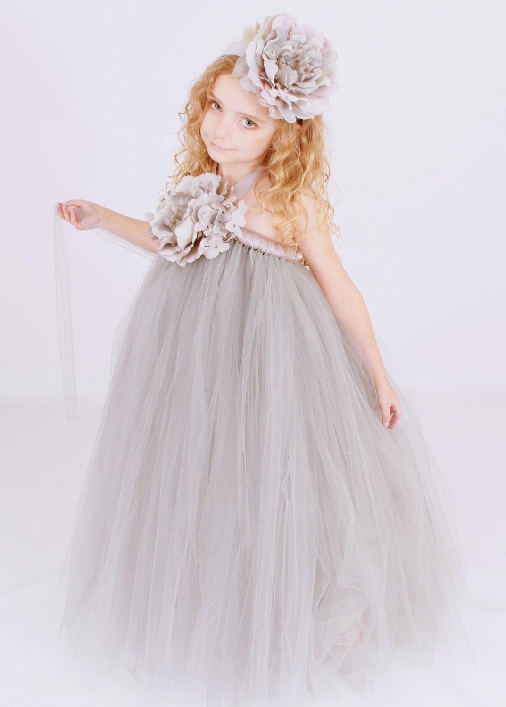 Flower Girl Tutu Dress Grey Dazzling by Cutiepatootiedesignz