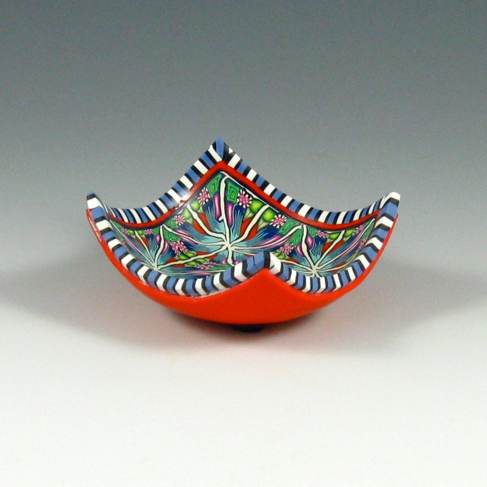 Polymer Clay Ring Bowl, Navy Blue, Tomato Red, White