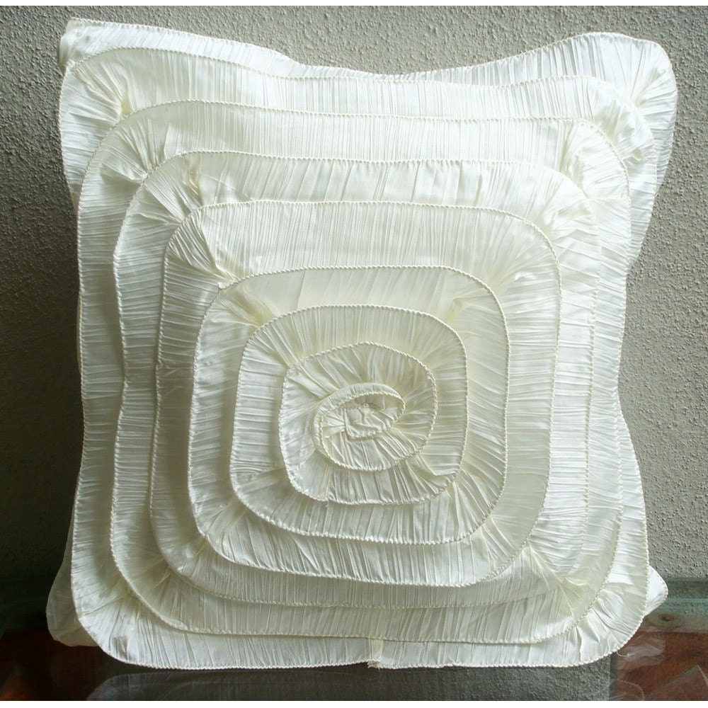 Vintage Frills  16 x 16 Inch Silk Pillow Cover by TheHomeCentric from etsy.com