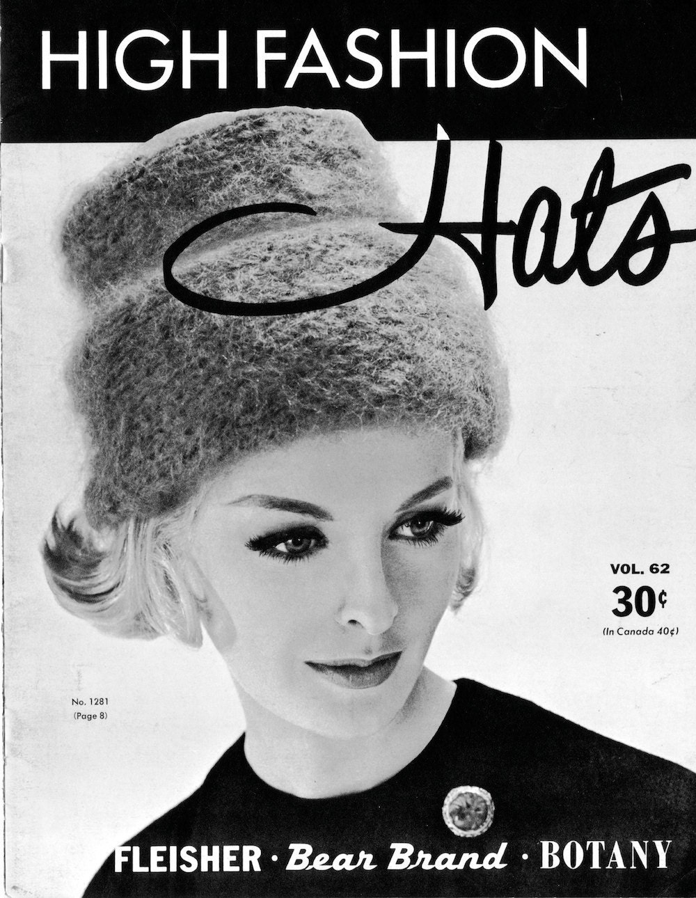 1960s Hi-Hat Knitted Hat Vintage Knitting Pattern PDF