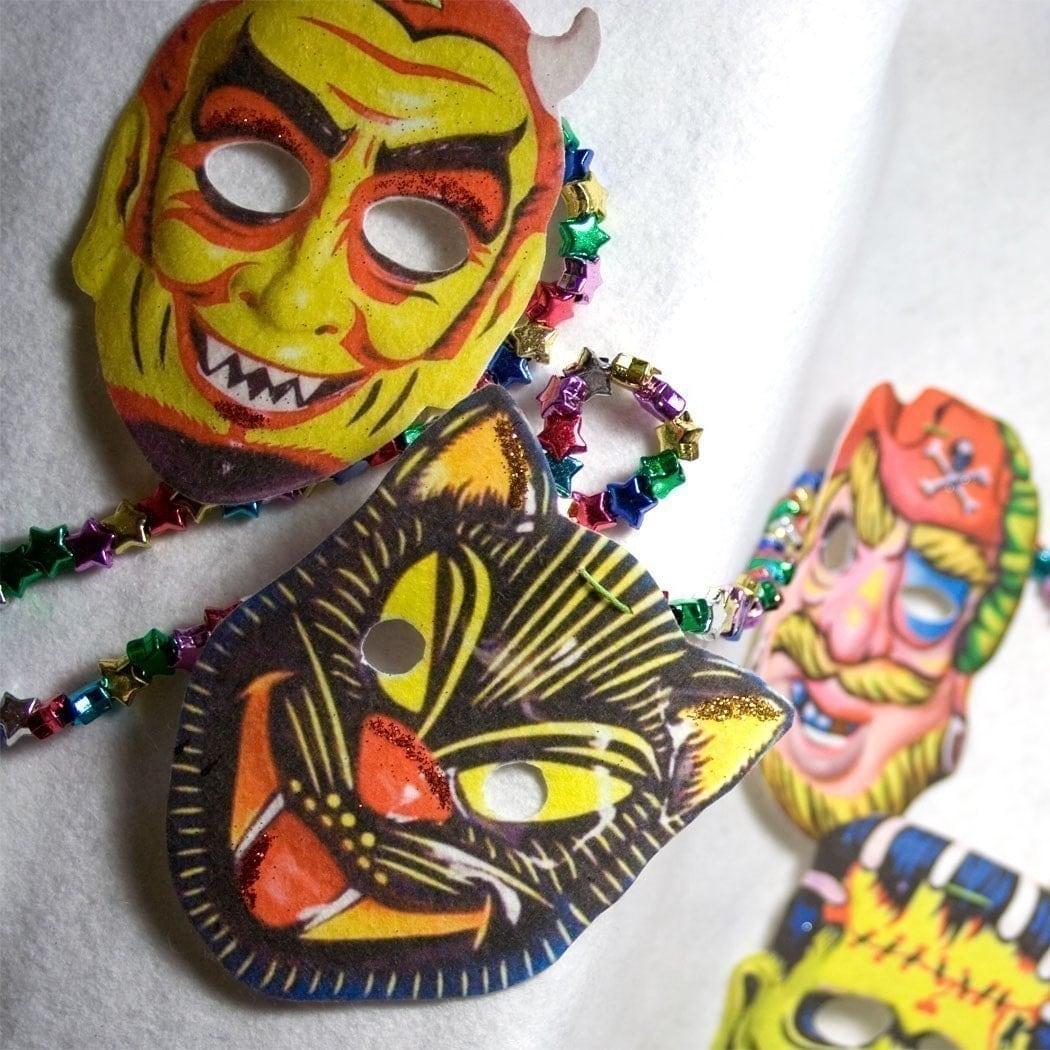 Vintage Halloween Garland Retro Masks Banner