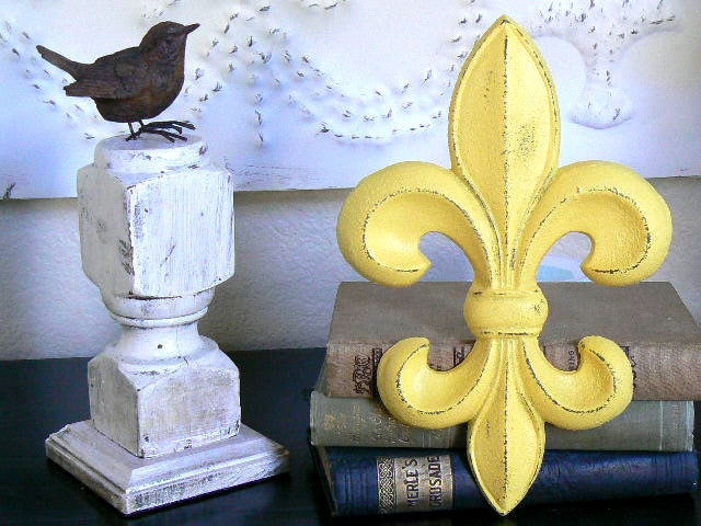 Cast Iron  Upcycled   Sunny Yellow  Wall  Decor  French   Fleur De Lis - ShabbieChicHome
