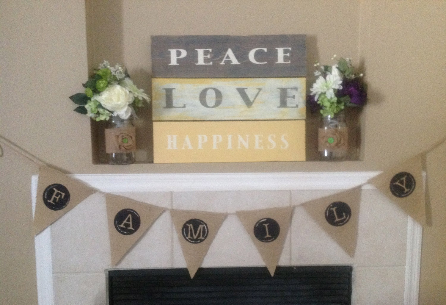 Peace Love Happiness Wood Sign