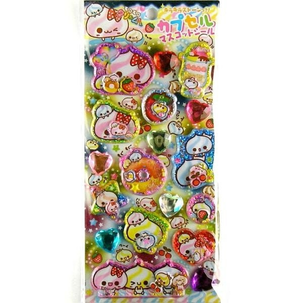 Kawaii  Glittery Mascots And Beads In Stickers Cream Baby By Kamio Japan L Size  (S433)
