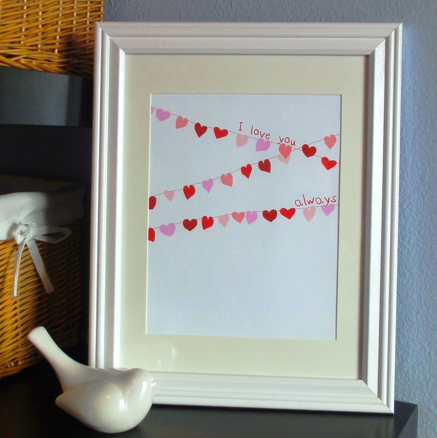 Hearts Banner Pink and Red Garland Art Print