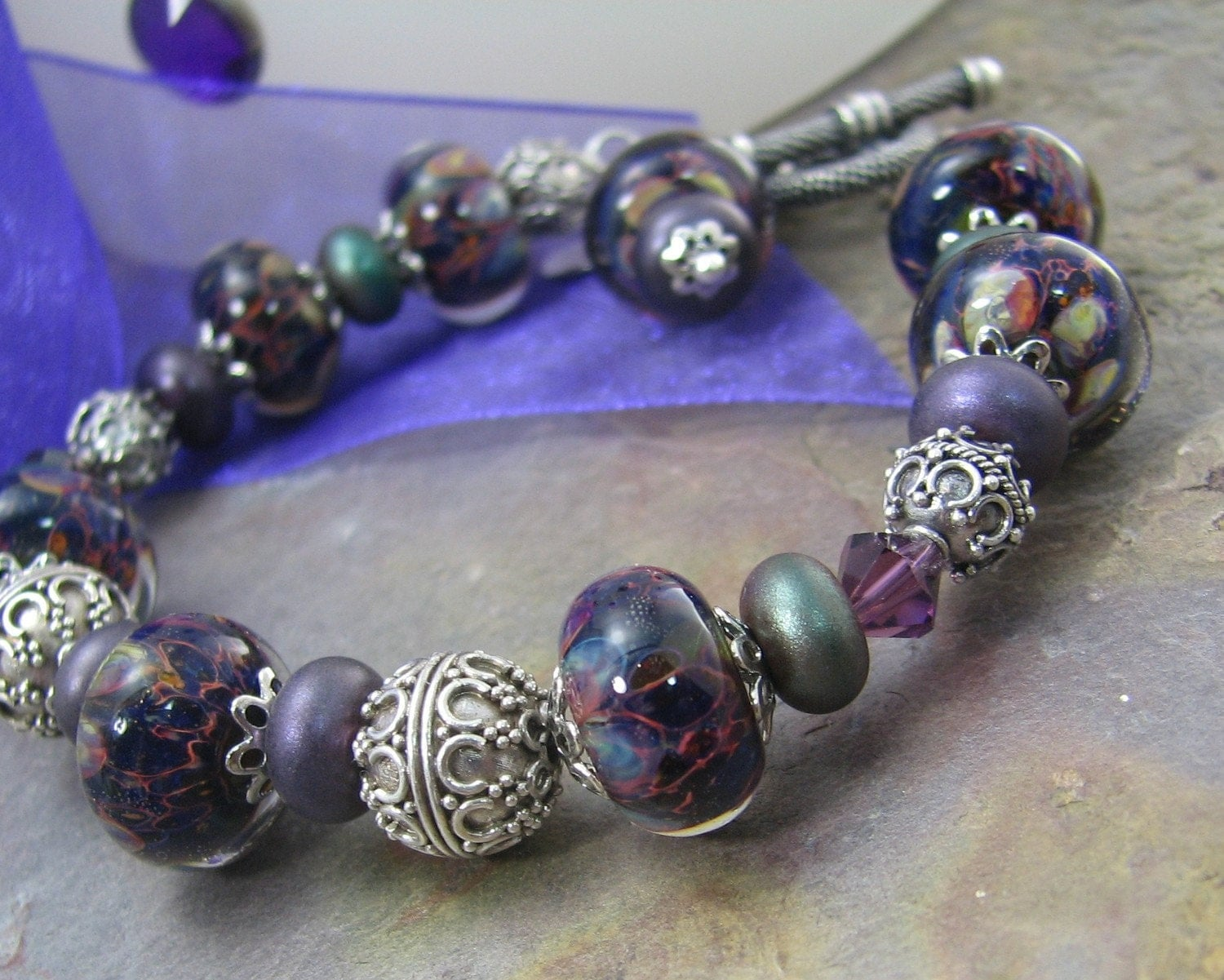 Royalty artisan lampwork bracelet with sterling