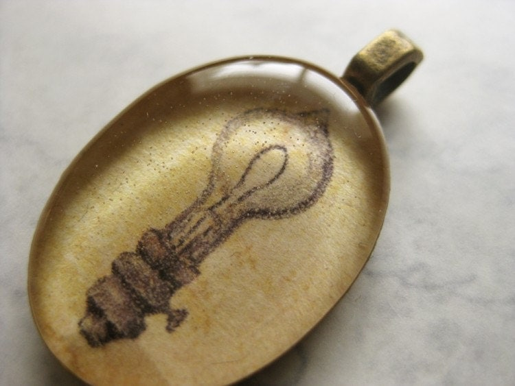Vintage inspired Light bulb illustration - brass pendant