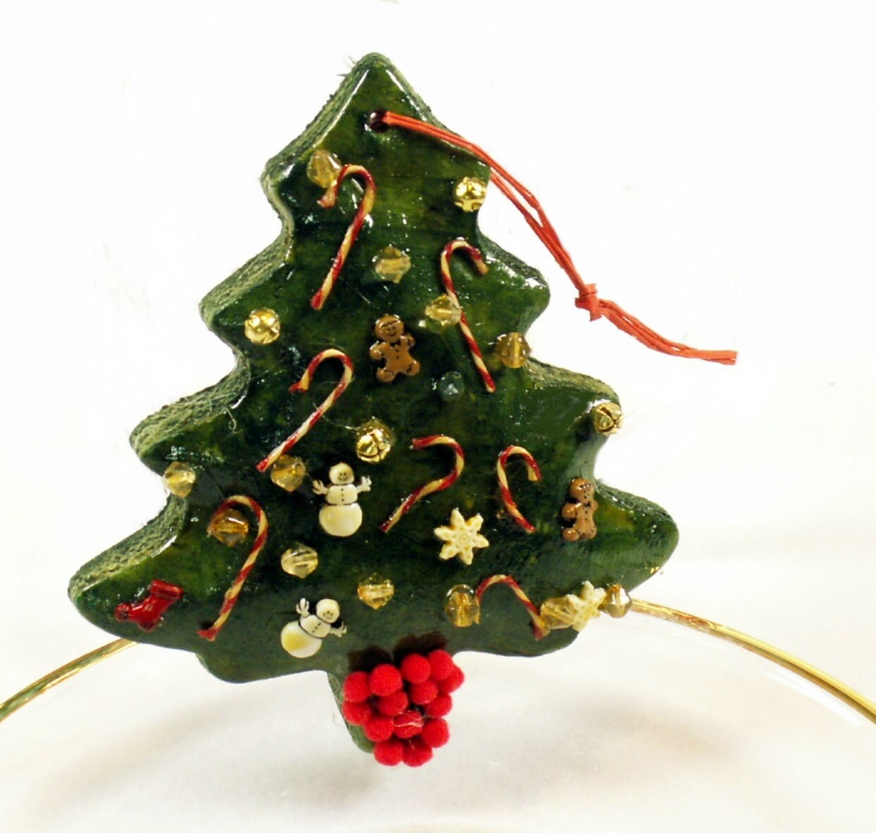 Christmas Tree Dough Ornament fully decorated