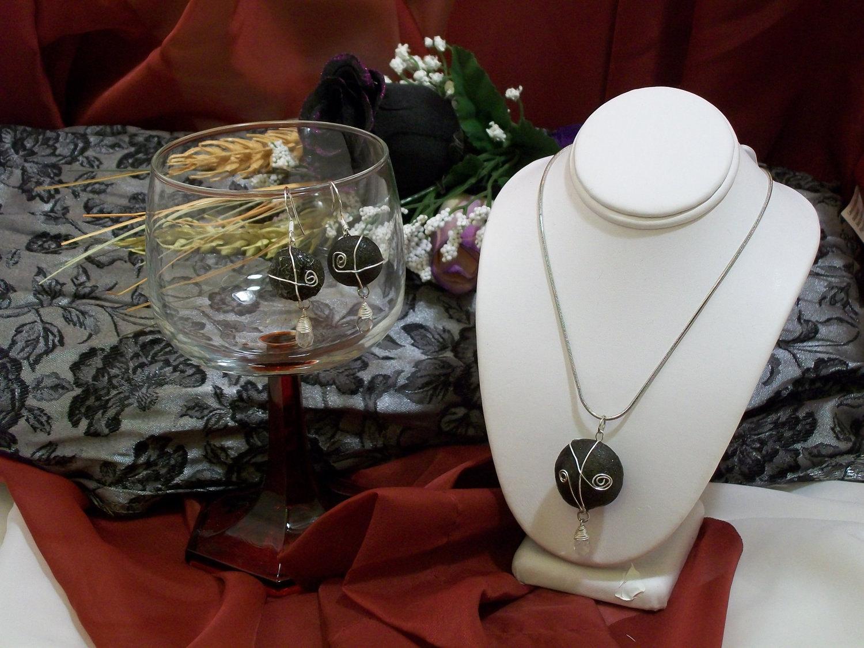 Shaman Chakra Kansas Boji Power Stone Necklace & Earring Jewelry Set