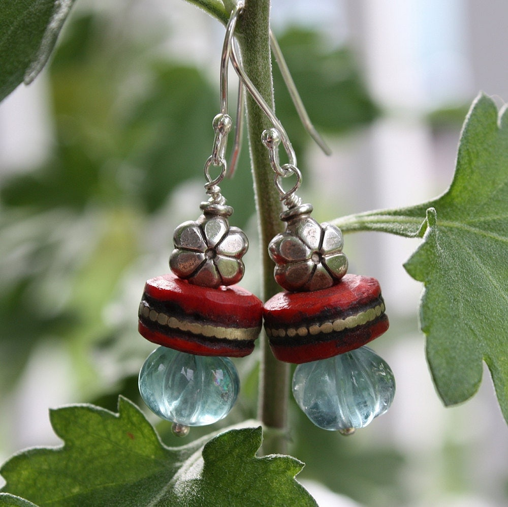 Red Mala Bead Earrings with Fluorite and Silver Flower