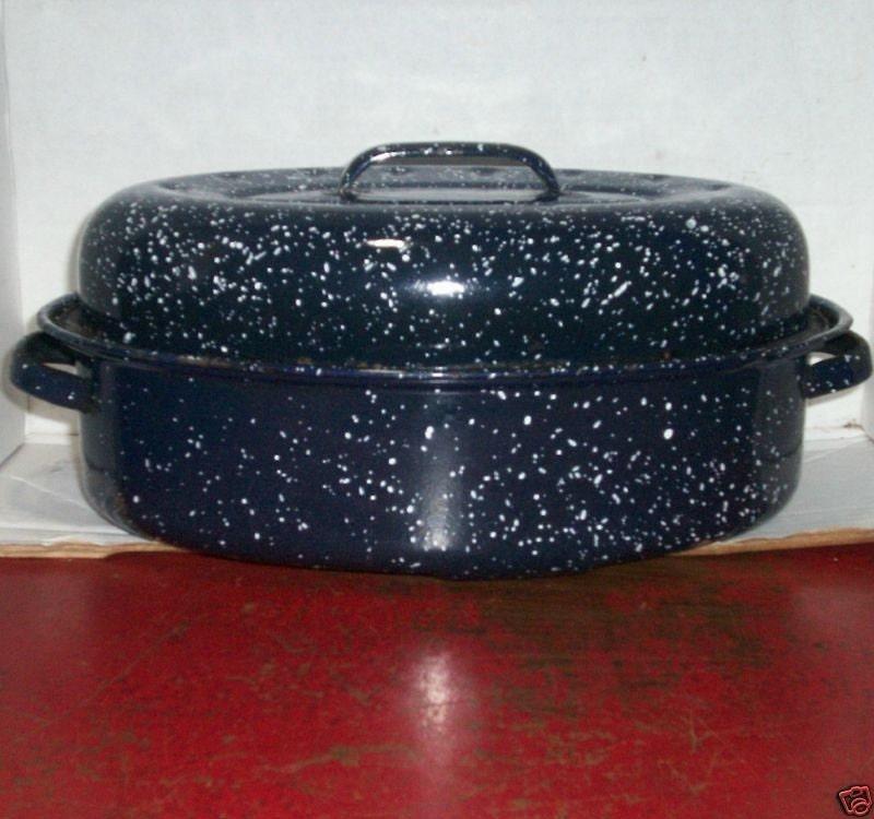 Roast Roasting Pan Baker W Cover Blue Granite By
