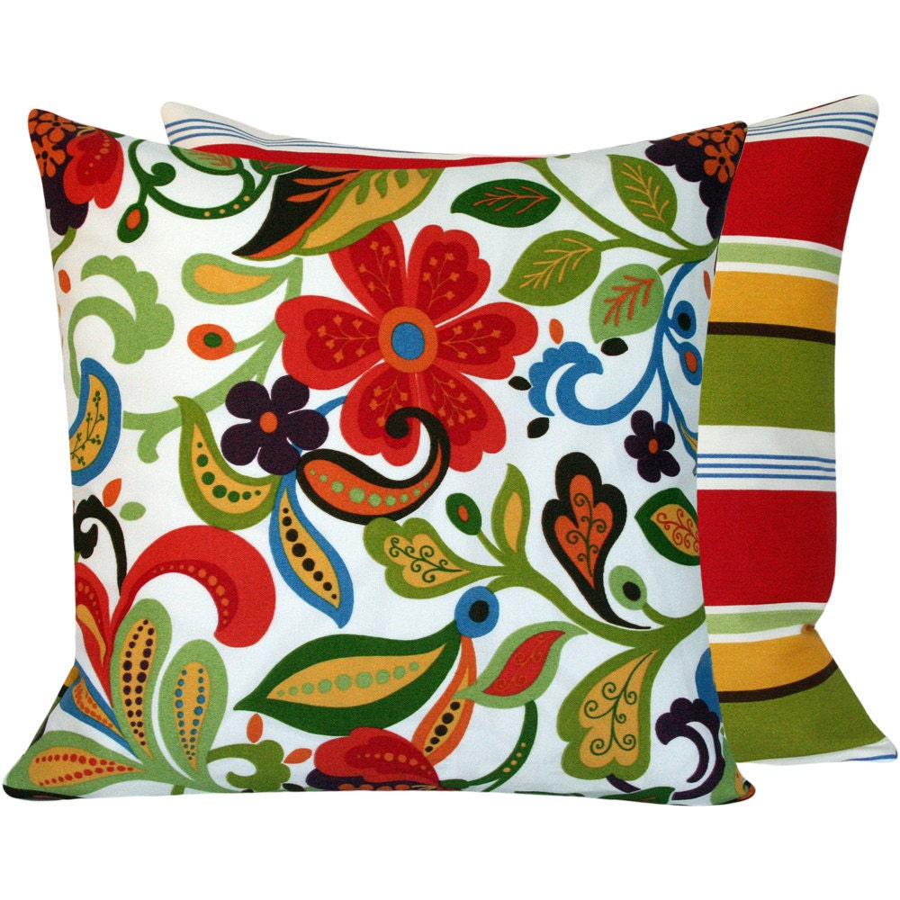 Blue Green Orange Throw Pillows : Outdoor Red Green Orange Blue Throw Pillow by ChloeandOliveDotCom