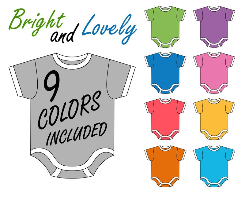 Baby Onesie Clip Art Set, Digital Clip Art, Baby Clothes Clip Art ...