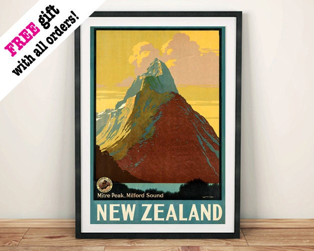 NEW ZEALAND POSTER Vintage Mountain Travel Poster Advert Art Print Wall Hanging