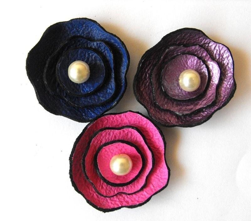 Flowers. 3pcs. Blue, violet, pink leather flowers. Romantic color combination