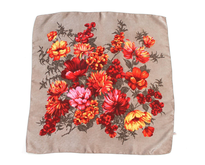 Vintage St Michael Red Floral Square Scarf - LoveShoesAndVintage