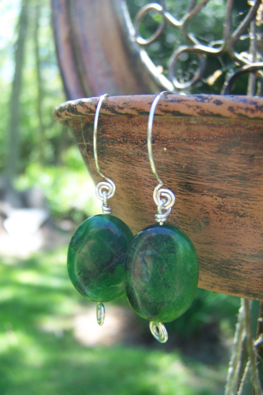 Amazingly Green Chrysoprase Earrings -HANDMADE