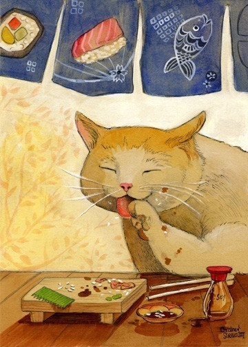 Sushi CAT  All done Signed and matted print
