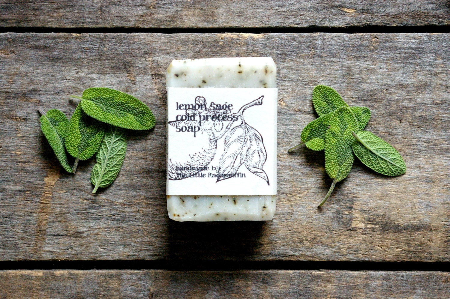 Handmade Soap, Cold Process Soap, lemon sage soap, homemade soap, small bar, organic, all natural soap, vegan soap, lightly scented - TheLittleRagamuffin