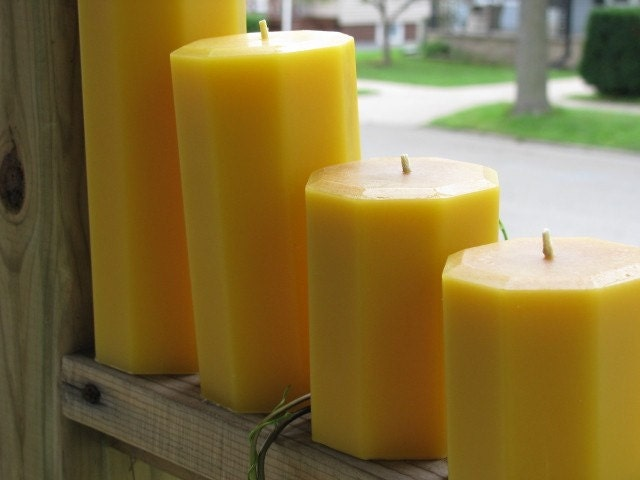 3 Inch Octagon Beeswax Pillars Candle - Your Height Choice