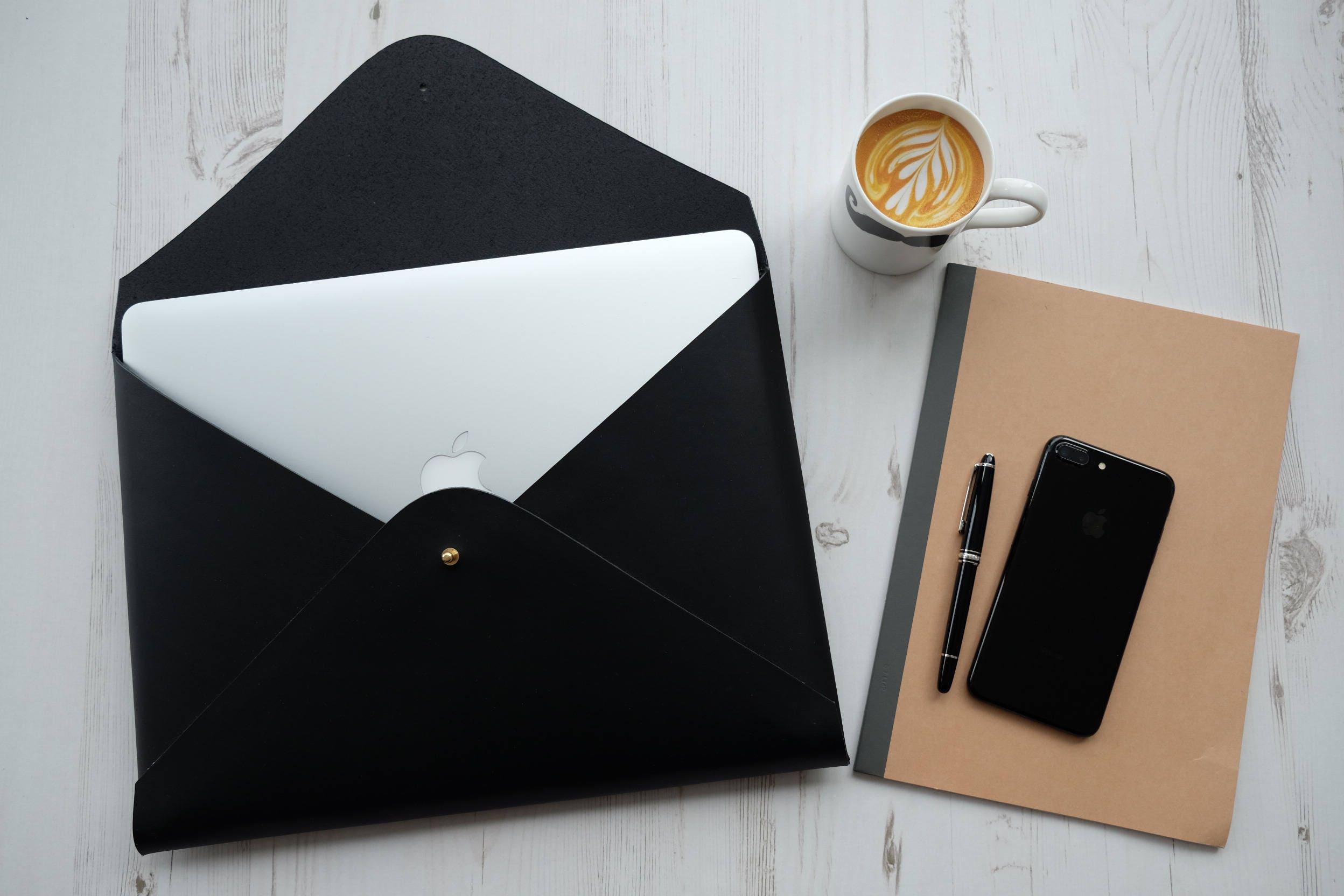 Macbook Pro 15 MONOGRAM Leather Sleeve Case Laptop Holder  Black