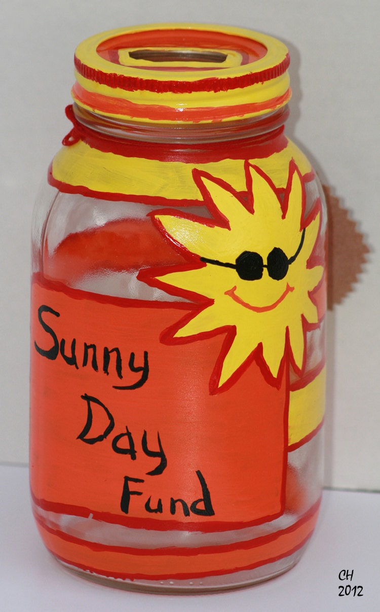 Sunny Day Fund - Hand Painted Jar Money Jar Change Jar Tip Jar Summer gift recycled upcycled Eco green home decor - FeathandKee