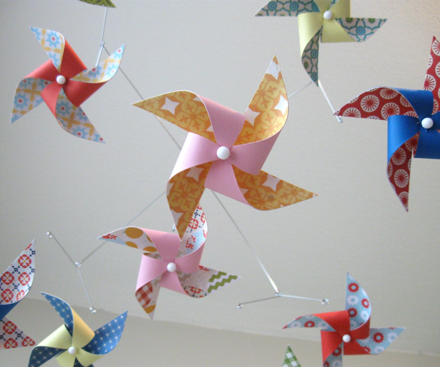 Baby Girl Mobile / Nursery Mobile / Crib Mobile / Pinwheel Mobile: Sugar and Spice - mamax2
