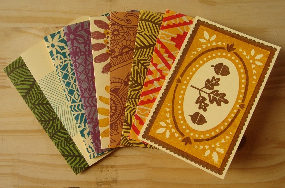Hand-printed greeting cards by Eliza Jane Curtis