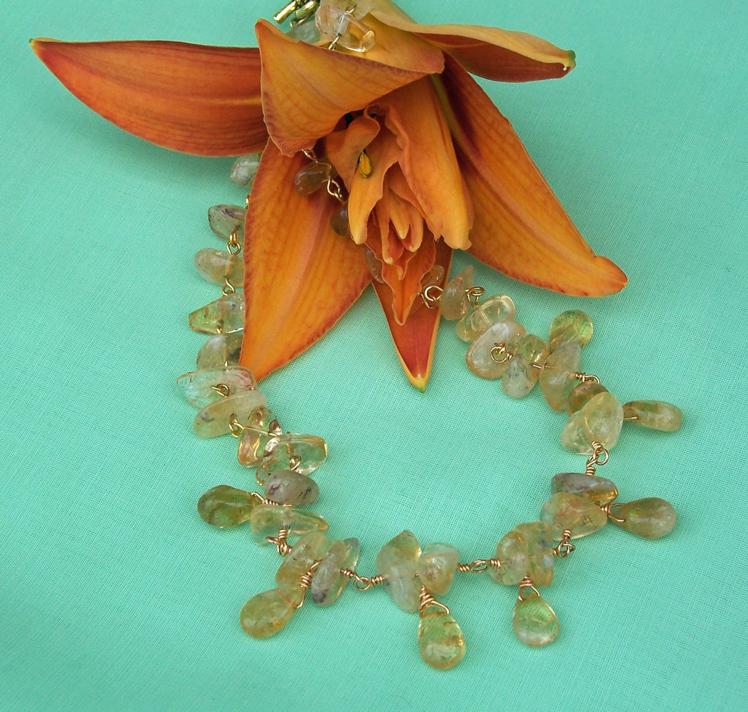 Elegant Citrine Necklace by evecollection on Etsy