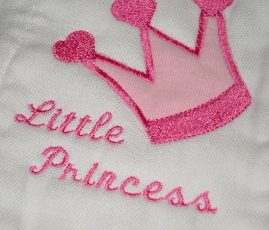 Little Princess Burp Cloth Set, Baby Girl Gift Set, 3 cloths monogram, applique