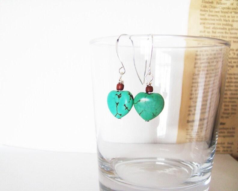 Desert Love Earrings  Green Turquoise by petitehermine on Etsy