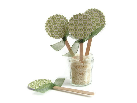 Green Flowers Cupcake Picks Spring Summer Wedding Party Pick Cupcake Toppers x 12 - Boetica