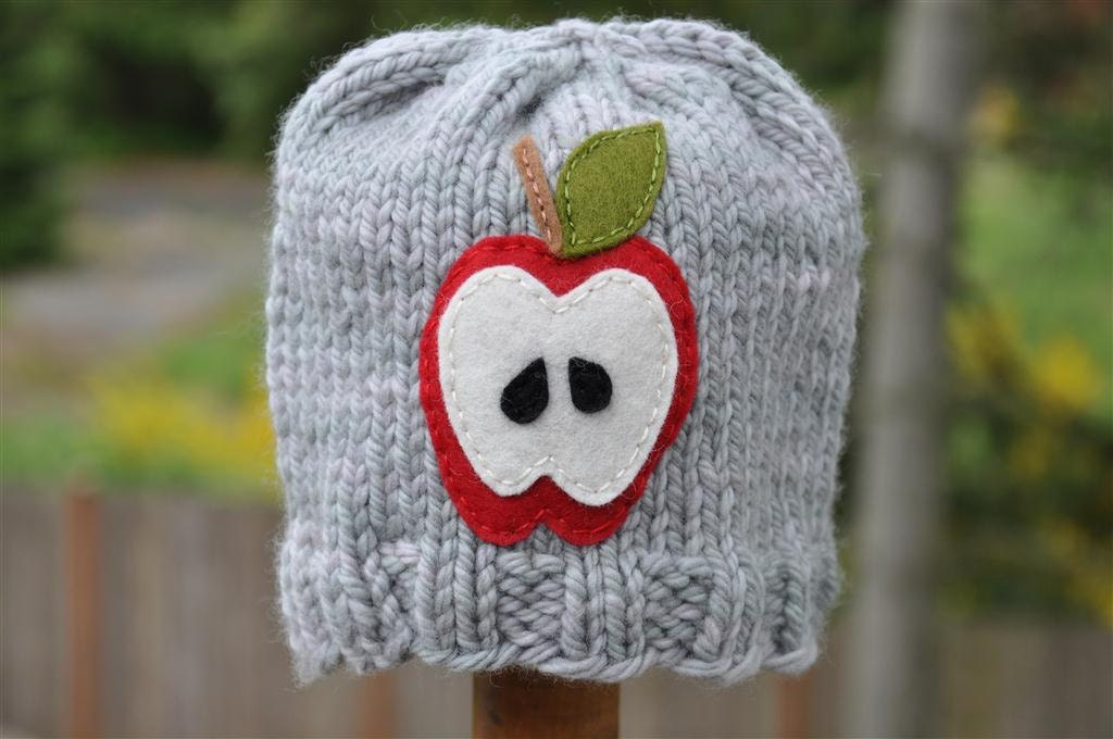 Fruity Hat - Apple, Infant Sized, Misty Grey