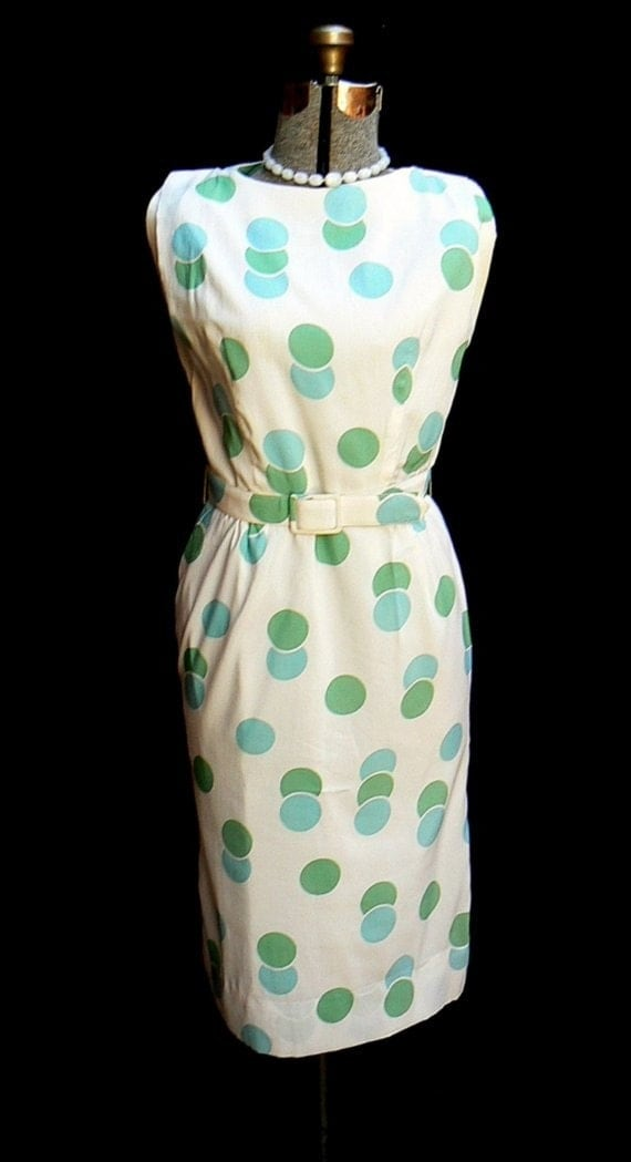 Vintage 50s early 60s PASTEL POLKA-DOT WIGGLE cocktail dress MINT GREEN and AQUA S