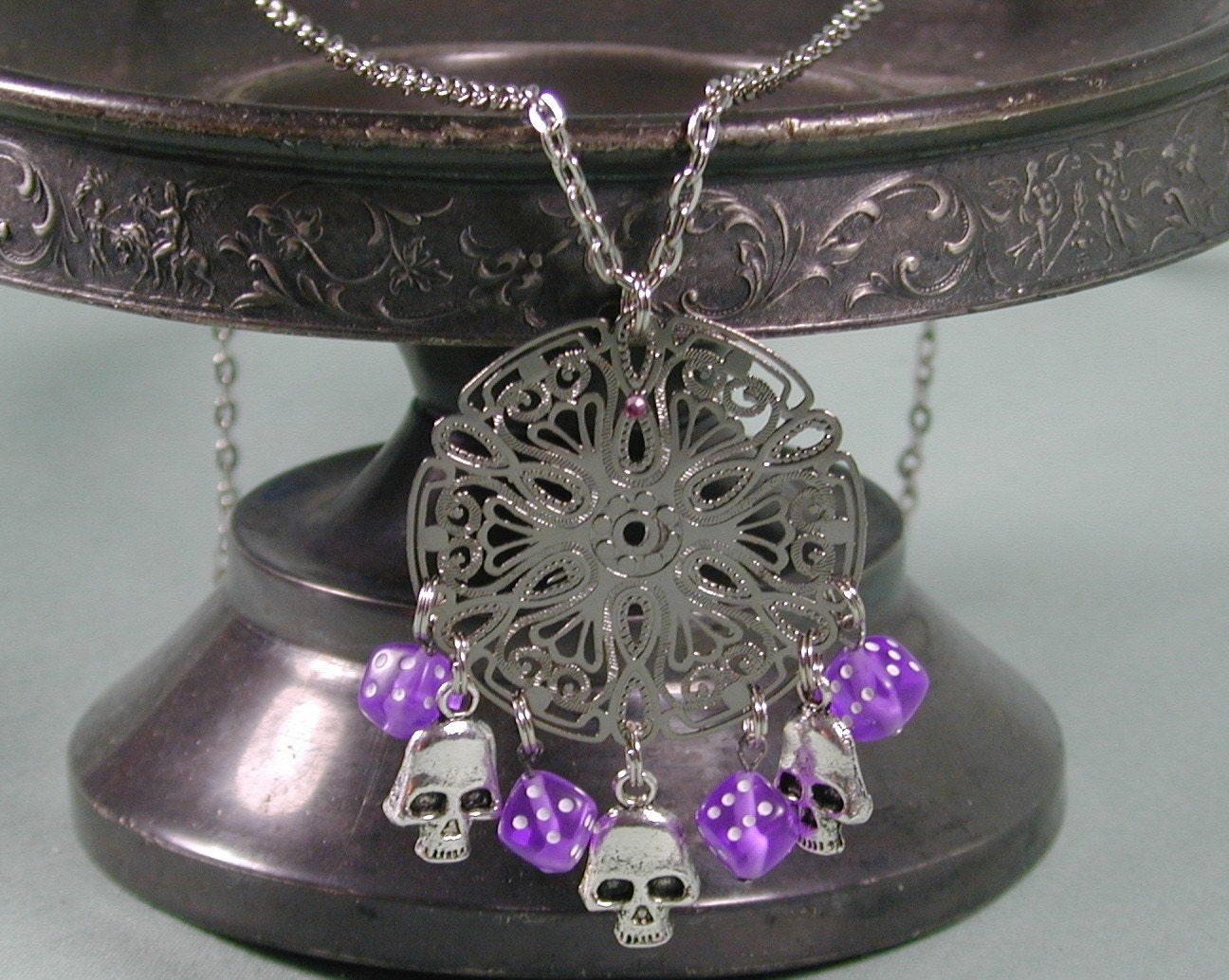 Purple Dice and Silver Skull Necklace