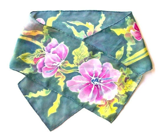 Batik Silk Scarf Pink Flowers - SilkMari