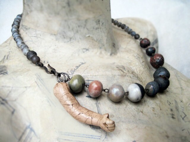 Small Wanderer. Rustic Ceramic Assemblage Choker.