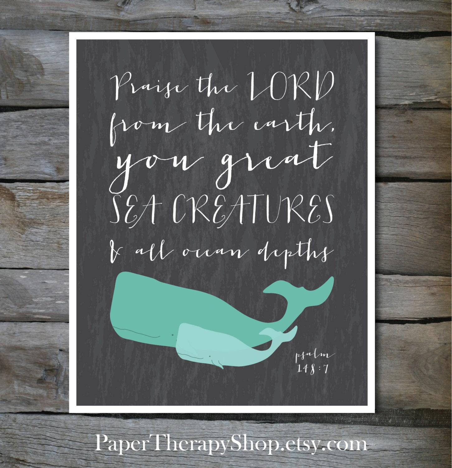 You great sea creatures whales print bible verse psalm 148 7 for Bible verses about fish