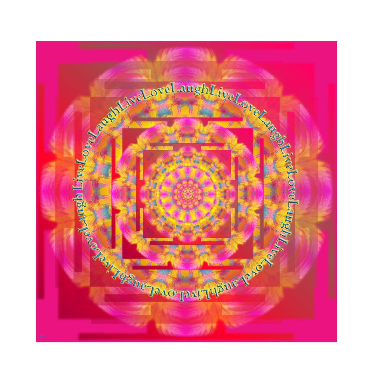 Art Print,Healing Mandala, Live Love Laugh, health, reiki,Home Decor,Holiday Gifts, magenta, teal, turquoise, fine art print, home decor - MandalaHealingArt