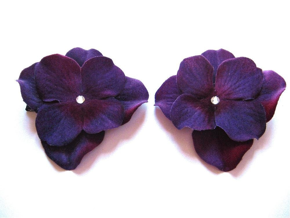 Two Dark Plum Flower Barrettes with Swarovski Crystals